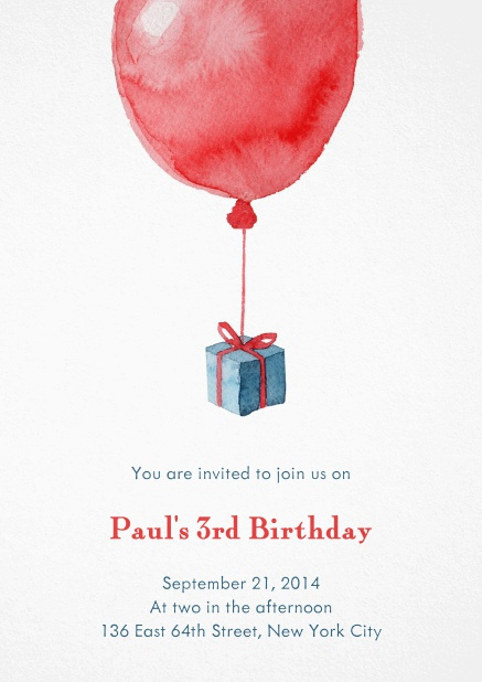 Birth announcement or Birthday invitation with red balloon and present.