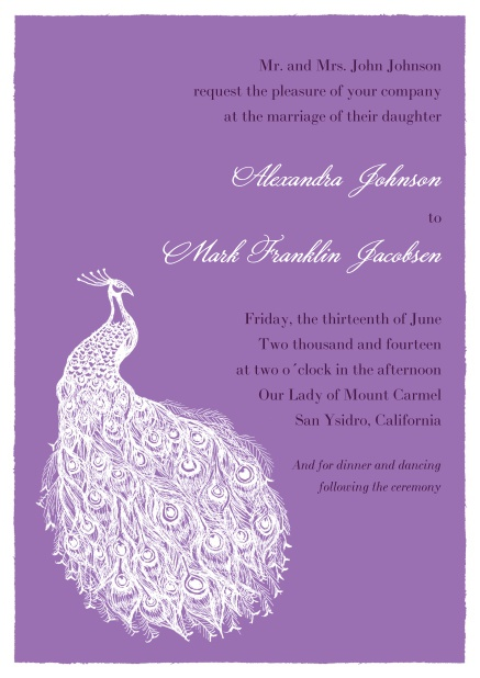 Purple online Wedding invitation card with editable text field and peacock.
