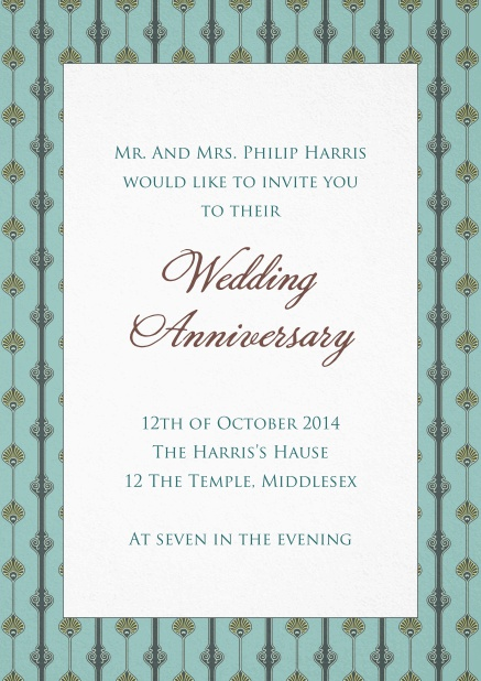 Wedding anniversary invitation card with art nouveau style frame and editable text.