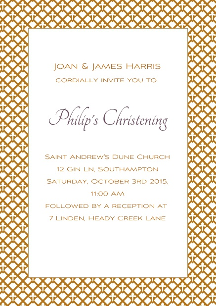 Online Christening invitation card with golden frame and editable text.