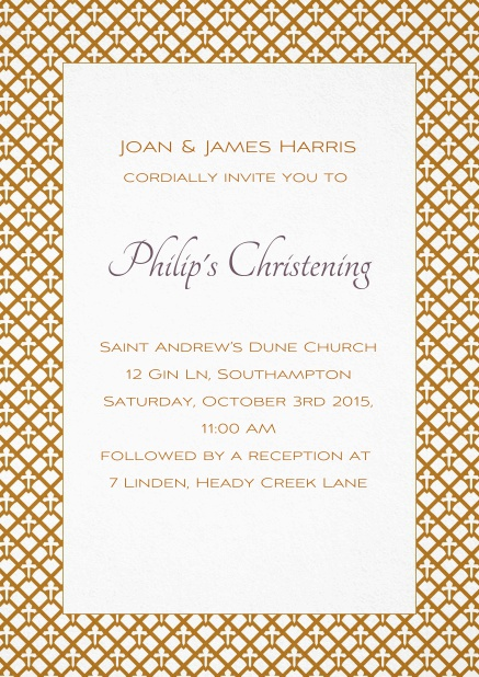 Christening invitation card with golden frame and editable text.