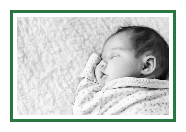 Online Classic Christening invitation card with large photo and frame in multiple colors, including editable text. Green.