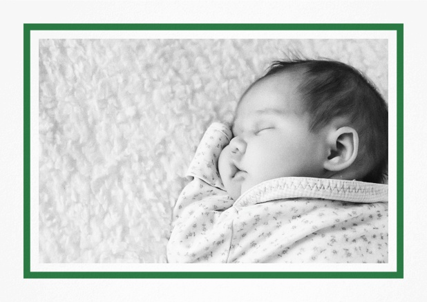 Classic Christening invitation card with large photo and frame in multiple colors, including editable text. Green.