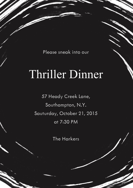 Online black Halloween invitation card with swirl and editable text.