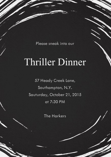 Black Halloween invitation card with swirl and editable text.