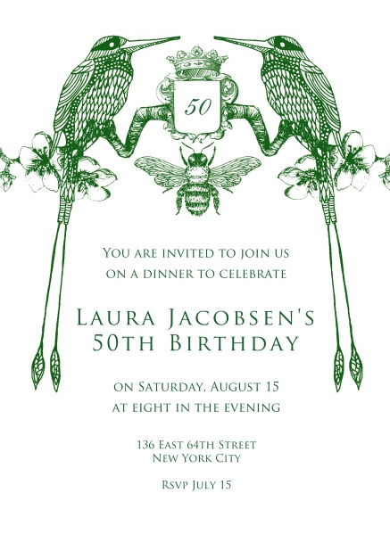 Online Invitation card for weddings and precious birthday invitations with two green birds.