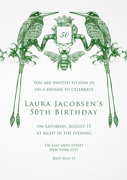 Invitation card for weddings and precious birthday invitations with two green birds.