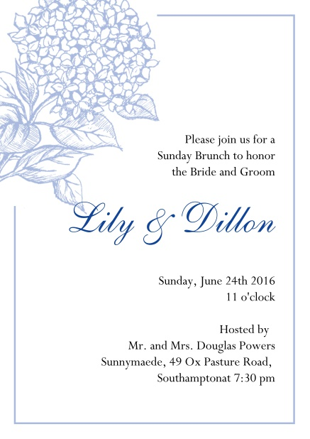 Online Wedding invitation card with large blue flower and blue frame. Blue.