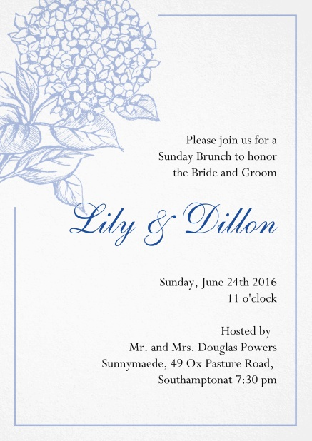 Wedding invitation card with large blue flower and blue frame. Blue.
