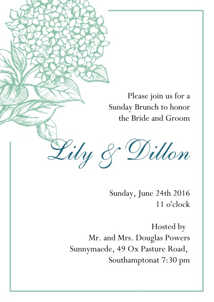 Online Wedding invitation card with large blue flower and blue frame. Green.