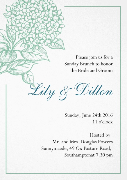 Wedding invitation card with large blue flower and blue frame. Green.