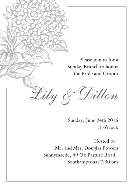 Online Wedding invitation card with large blue flower and blue frame. Grey.