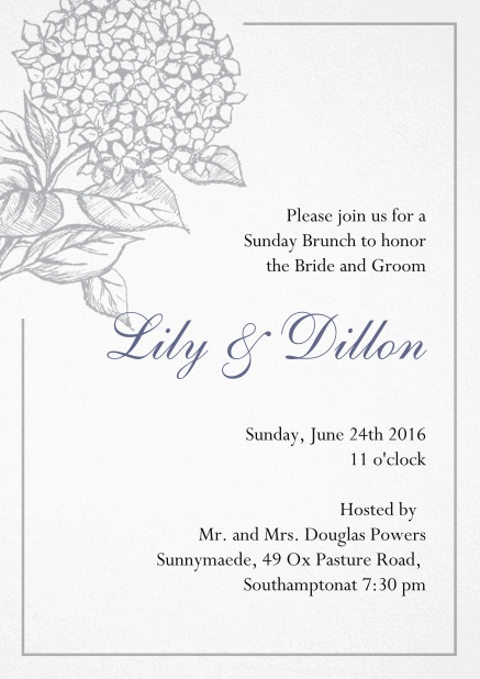 Wedding invitation card with large blue flower and blue frame. Grey.