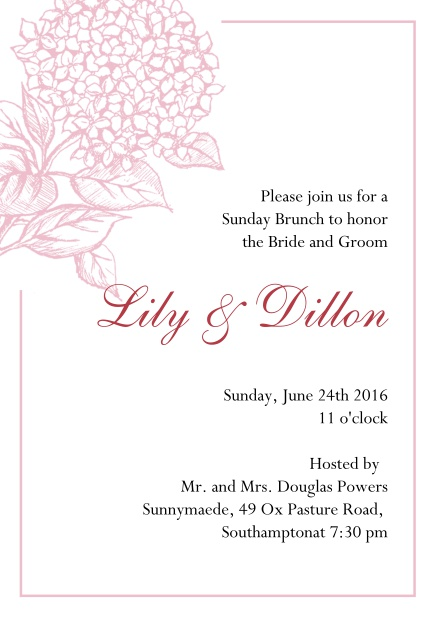 Online Wedding invitation card with large blue flower and blue frame. Pink.