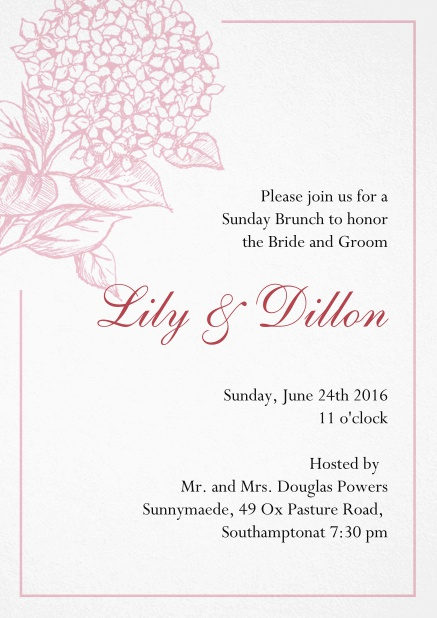 Wedding invitation card with large blue flower and blue frame. Pink.