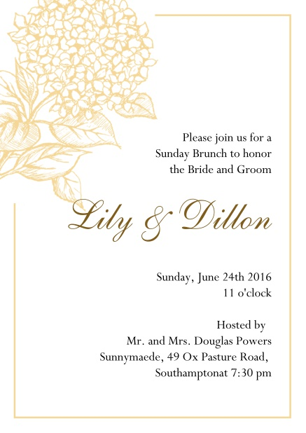 Online Wedding invitation card with large blue flower and blue frame. Yellow.