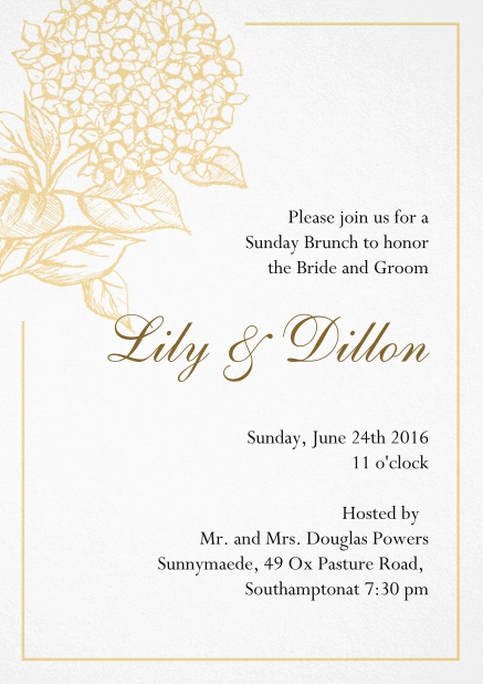 Wedding invitation card with large blue flower and blue frame. Yellow.