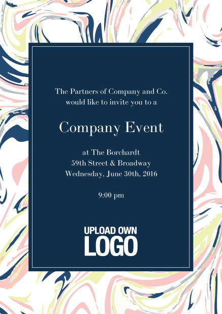Online Corporate invitation card with colorful floral frame around a dark textfield and own logo option.