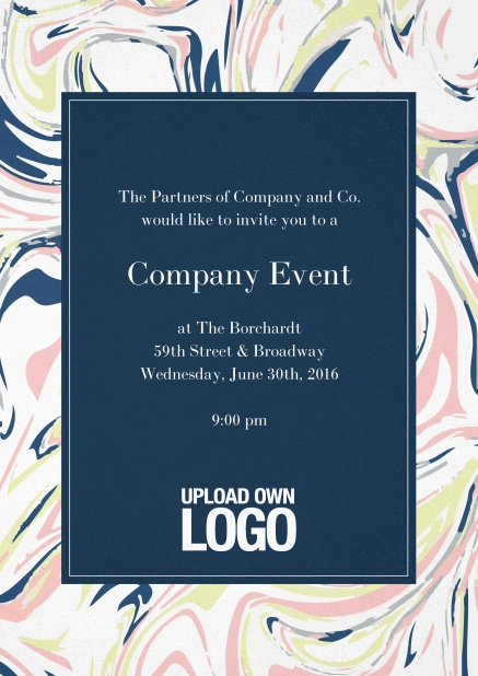 Corporate invitation card with colorful floral frame around a dark textfield and own logo option.