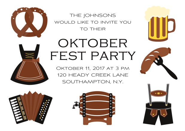 Fun Oktoberfest online invitation card with seven pictures of Oktoberfest classics like beer and lederhosen. Black.
