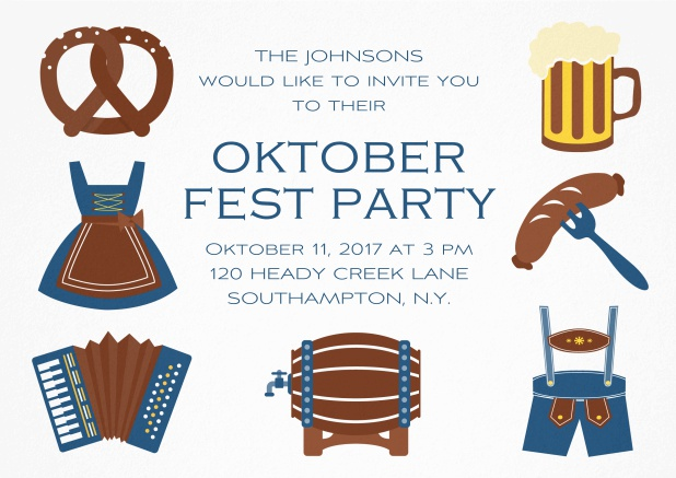 Fun Oktoberfest invitation card with seven pictures of Oktoberfest classics like beer and lederhosen. Blue.