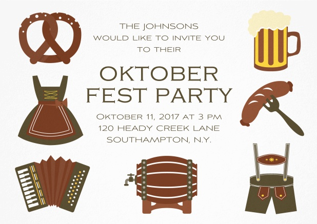 Fun Oktoberfest invitation card with seven pictures of Oktoberfest classics like beer and lederhosen. Brown.