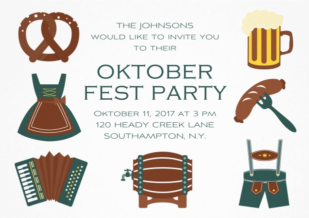 Fun Oktoberfest invitation card with seven pictures of Oktoberfest classics like beer and lederhosen. Green.