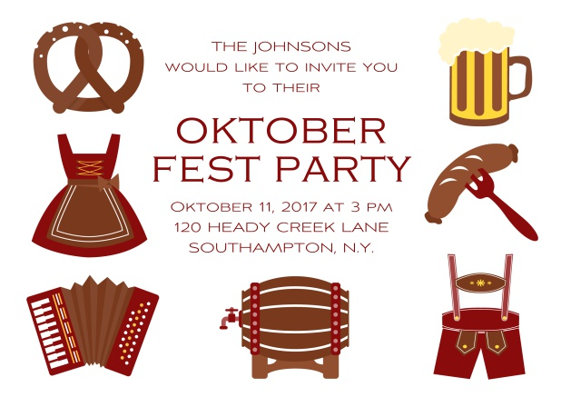 Fun Oktoberfest online invitation card with seven pictures of Oktoberfest classics like beer and lederhosen. Red.