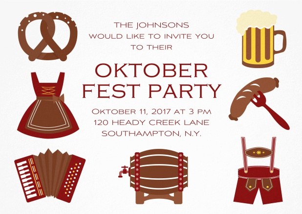 Fun Oktoberfest invitation card with seven pictures of Oktoberfest classics like beer and lederhosen. Red.