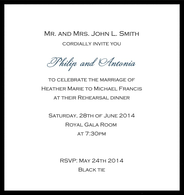 Classic invitation card with white paper and fine frame in color of your choice. Black.