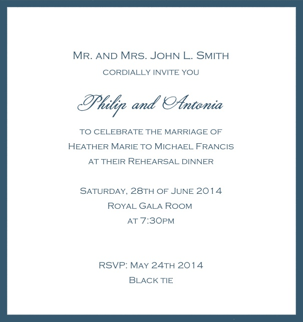 Classic invitation card with white paper and fine frame in color of your choice. Blue.