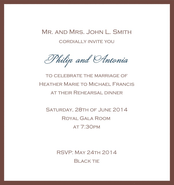 Classic invitation card with white paper and fine frame in color of your choice. Gold.