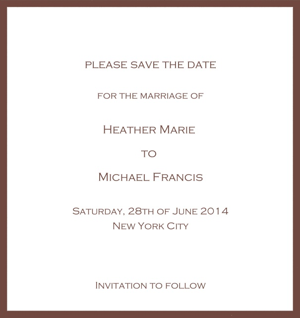 Classic Save the Date card design on white paper with fine frame in the color of your choice. Gold.