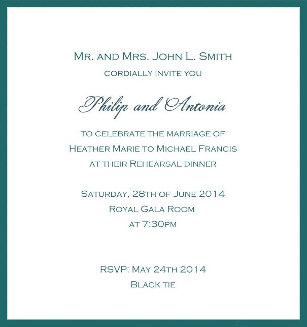 Classic invitation card with white paper and fine frame in color of your choice. Green.