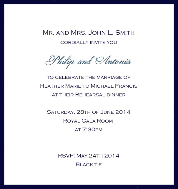 Classic invitation card with white paper and fine frame in color of your choice. Navy.