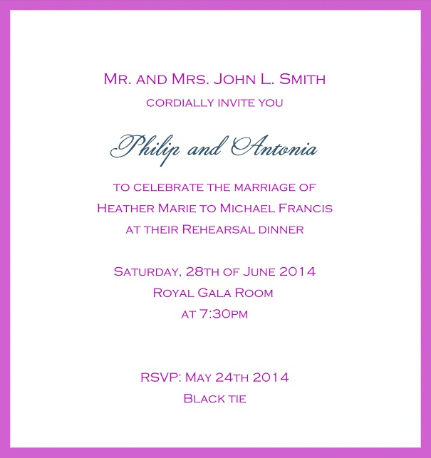 Classic invitation card with white paper and fine frame in color of your choice. Pink.