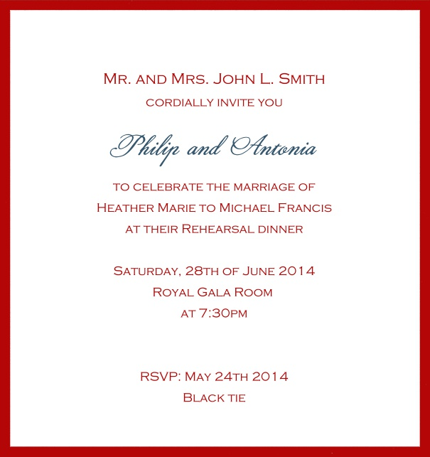Classic invitation card with white paper and fine frame in color of your choice. Red.