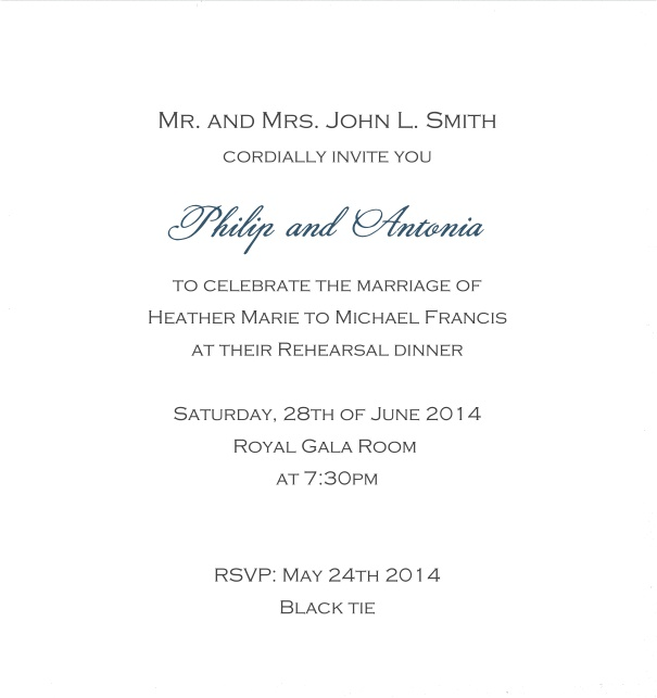 Classic invitation card with white paper and fine frame in color of your choice. White.