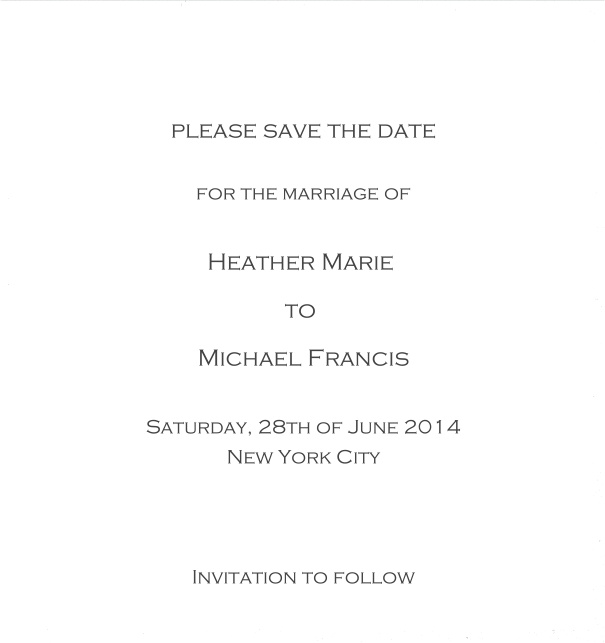 Classic Save the Date card design on white paper with fine frame in the color of your choice. White.