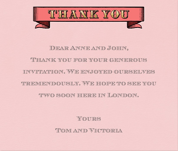 Pink Thank You Card with Header.
