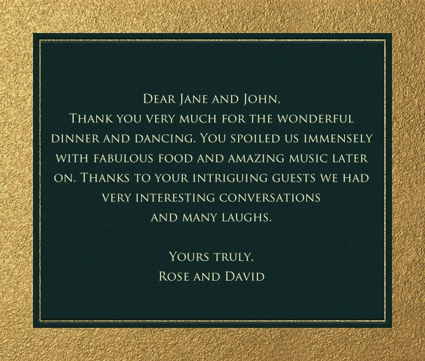Online classic correspondence card with gold inner border and wide outer frame.