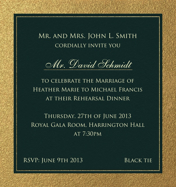Black, classic Party Invitation with gold border.