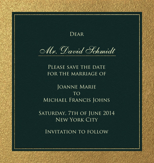 High Black Formal Cocktail Party Save the Date Card with Gold Border.