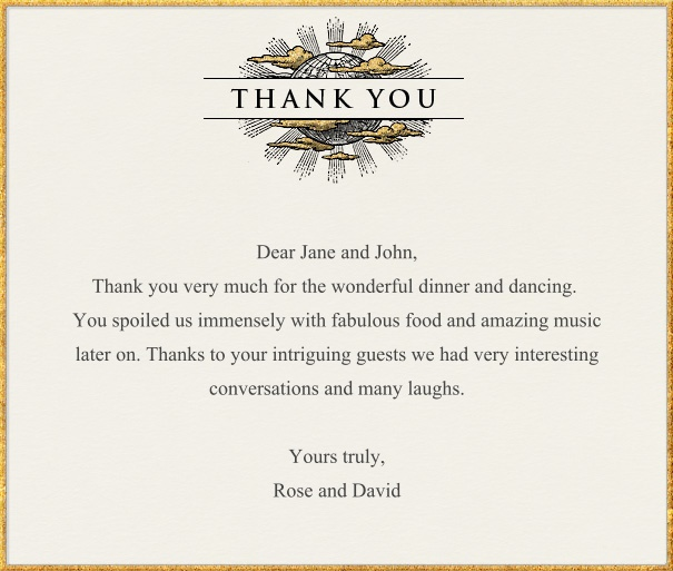 Tan Thank You Card with Gold Border and Banner.
