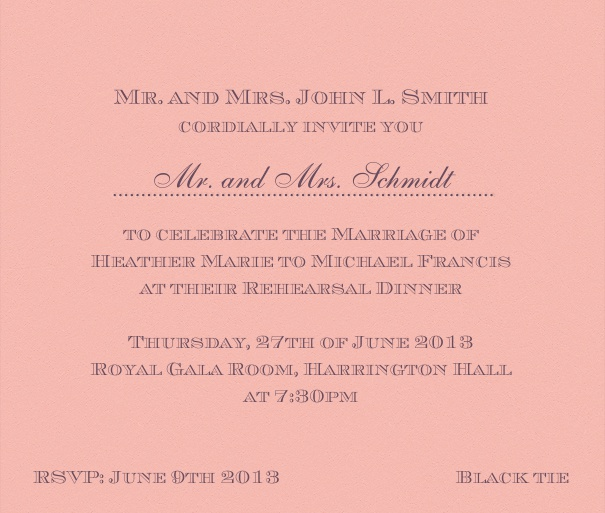 Pink classic Wedding Invitation Card with text box and space for recipient names.