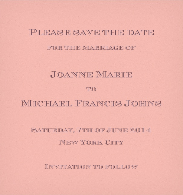 Pink Classic Wedding Save the Date Card.