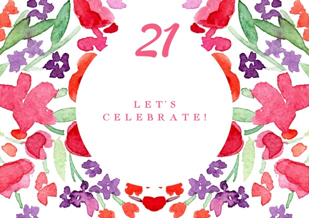 Colorful Watercolor Painted Card For 21st Birthday Invitations Online
