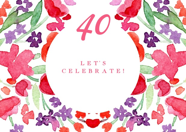 40 sweet peas 40th birthday colorful watercolor painted card for 40th birthday invitations online filmwisefo
