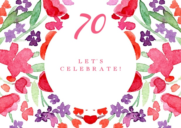 Colorful Watercolor Painted Card For 70th Birthday Invitations Online