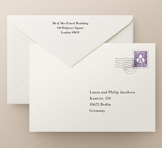 High quality print for return and recipient addresses